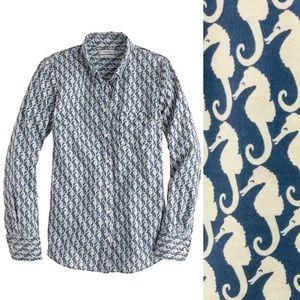 J.Crew Boy Fit Seahorse Linen Cotton Button Shirt